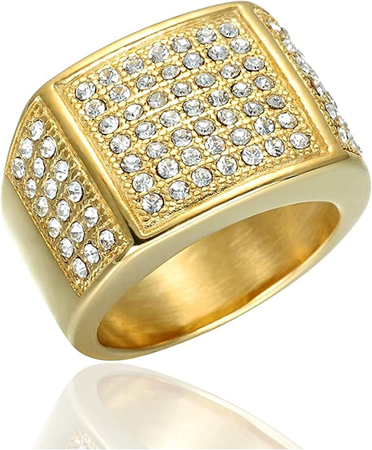 Xusamss Hip Hop Plated 18K Gold Stainless Steel Square Crystal Ring