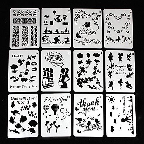 Ai-life 12 Stück Bullet Journal Schablonen(Liebe, Engel, Blumen, Meerestiere), Kunststoff Vorlagen DIY Malerei Zeichenschablonen für Planer / Notebook / Tagebuch, 14x20cm