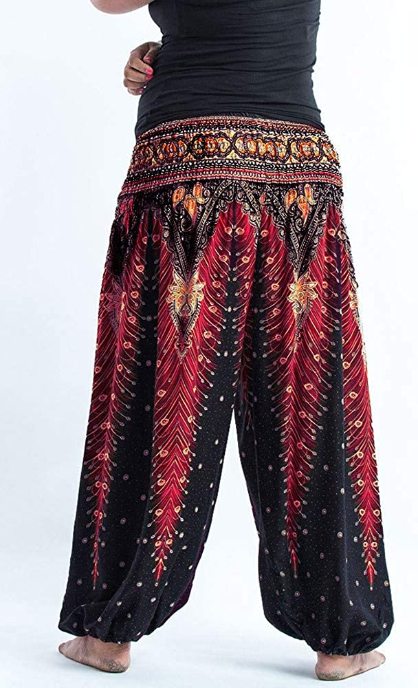 Xixiuly Couple Plus Size Harem Pants Hippie with Pockets Boho Baggy Yoga Trousers