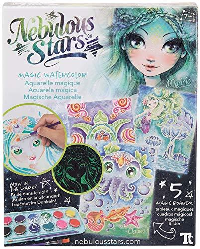 Nebulous Stars NS11105 Kreativset Magische Aquarelle, mit 5 magischen Aquarellvorlagen und 12 Farben, für Mädchen ab 7 Jahre, als Geschenkidee