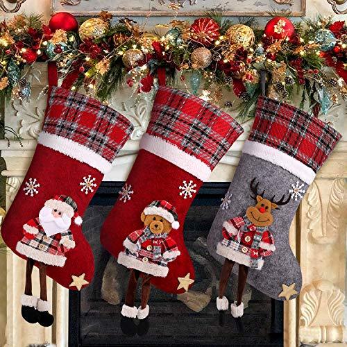 Calcetines de Navidad Juego de 3 Calcetines Adorno decorativo Oso