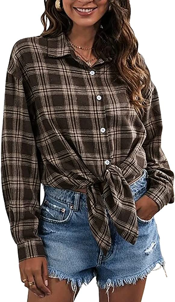 LYANER Women's Long Sleeve Plaid Collar Button Down Boyfriend Shirt Blouse Top