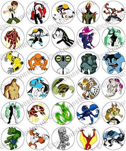 Greathings 30 x Ben 10 Aliens Birthday Collection Edible Rice Wafer Paper Cupcake Toppers