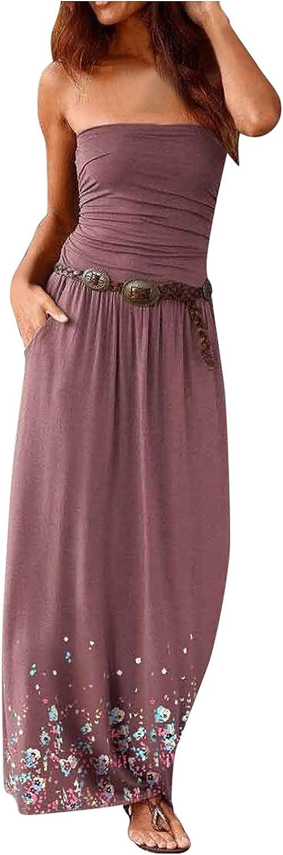 Sun Dresses Women Summer Casual Loose Sleeveless Printing Breast Wrap Floor-Length A-line Dress Casual Sexy Boho