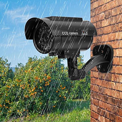 Cámara de Seguridad ficticia Material plástico ABS Cámara de Seguridad Impermeable Cámara Falsa de bajo Consumo Práctica cámara con energía Solar, para el hogar