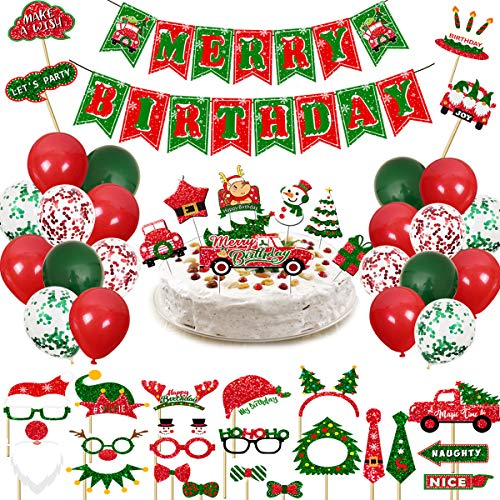 Haimimall Christmas Birthday Decor Set Merry Birthday Banner Birthday Cake Topper Birthday Party Decoration Christmas Photo Booth Props Red and Green Confetti Latex BalloonsNew Year Party Supplies