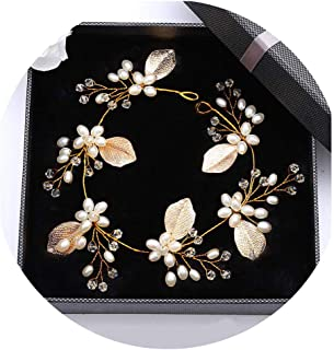 Campsis Floral Wedding Headpiece Beads Bride Headband Leaves Bridal Hair Accessories for Women and Girls Gold