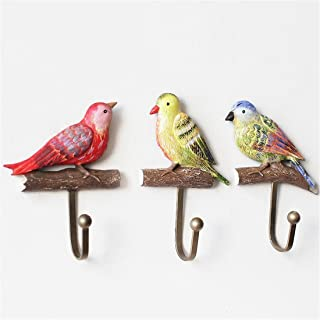 Christmas Gift,Birds Vintage Hand Made Painted Poly Resin Home Door Wall Mount Hooks Home Towel Clothes Hat Coat Key Hanger (Birds)