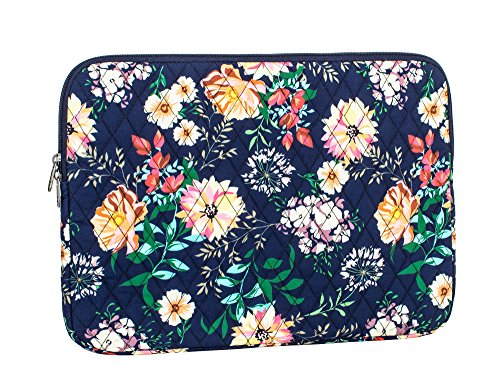 Leaper Floral Laptop Sleeve 15 Inch Laptop Bag MacBook Pro MacBook Air Dark Blue