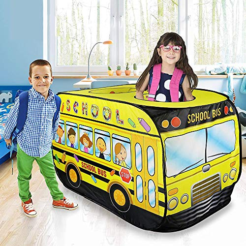 ZZYYLL Kids Bus School Bus Pop Up Play Tent - Foldable Indoor and Outdoor Playhouse for Toddlers, Boys and Girls