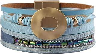 Women Leather Cuff Bracelet Multi Strand Wrap Around Bracelets Charm Heart Boho Bangle Handmade Jewelry for Girls, Mother, Wife, Ladies, Lover Gift