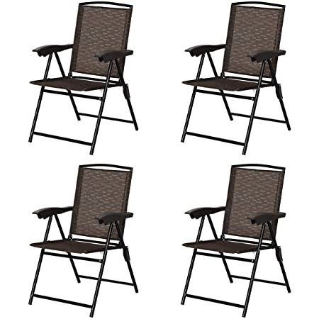 Portable Chairs for Patio Garden Pool Outdoor /& Indoor w//Armrests Goplus Folding Sling Chairs Sets of 2