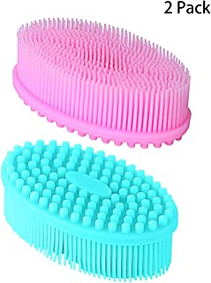 Little Beauty Bath Brush with Long Bamboo Handle, Wet or Dry Body Massager Brushing, Boar Bristles Shower Back Scrubber for Cellulite & Exfoliating