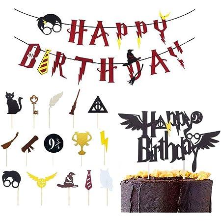 Integrity.1 Banner di Buon Compleanno, Forniture per Feste di Buon Compleanno, Decorazione per Torta da Mago, Harry Potter Cupcake Toppers, per Feste di Compleanno, Celebrazioni di Maghi