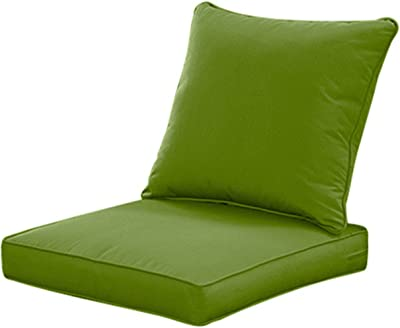 Amazon Com Qilloway Outdoor Indoor Deep Seat Cushions For Patio Furniture All Weather Lawn Chair Cushion 24 X 24 Inch 1 Set Green Garden Outdoor