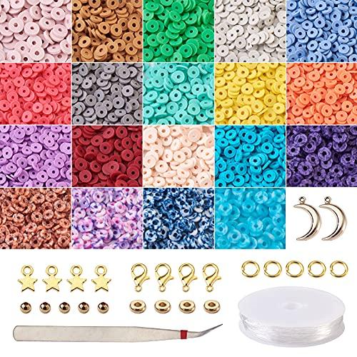 Cheriswelry Heishi - Cuentas de arcilla para hacer joyas, 6080 piezas, 19 colores, 6 mm, disco plano y redondo, cuentas de arcilla polimérica, amuletos de estrella y luna, cordón de cristal elástico