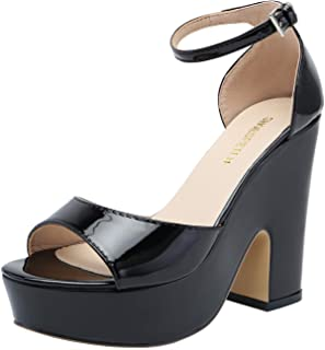 SHOESFEILD Women's Ankle Strap Platform Heels Chunky Block High Heel Summer Dress Sandals