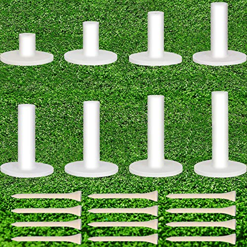 Skylety 20 Pieces Golf Rubber Tee Holder Set Include Mixed Size Golf Rubber Tees Holders Plastic Mat Tees Holders and Regular Golf Tees for Driving Range Golf Practice Mat