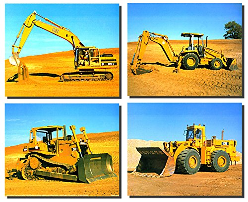 Heavy Equipment Caterpillar Bulldozer Truck 4 Set 8x10 Wall Decor Art Print Posters