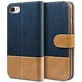 BEZ Hülle für iPhone 8 Hülle, iPhone 7 Hülle, Handyhülle Kompatibel für iPhone 7 Hülle Klappbar, Handytasche Schutzhülle Tasche [Stoff & PU Leder] mit Kreditkartenhaltern - Blau Marine