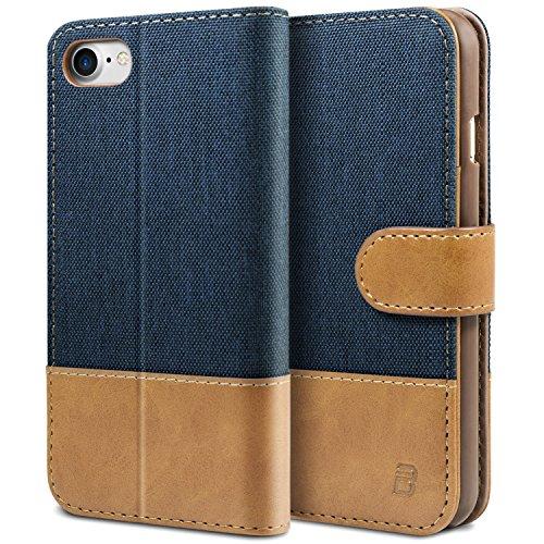 BEZ Hülle für iPhone 8 Hülle, iPhone 7 Hülle, Handyhülle Kompatibel für iPhone 7 Hülle Klappbar, Handytasche Schutzhülle Tasche [Stoff und PU Leder] mit Kreditkartenhaltern - Blau Marine