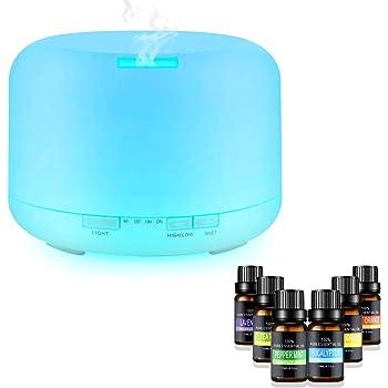 Difusor de Aceite Esencial, 500ml Difusor aromaterapia purificador de aire difusor de aceites esenciales perfcto para Habitación,oficina, Yoga