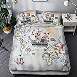 HUA JIE Juegos De Fundas para Edredón Nautical Pirate Ship Twin Duvet Covet Set 3 Piece Coastal World Map Cartoon Bedding Sets For Boys Kids 1 Duvet Cover + 2 Pillowcases