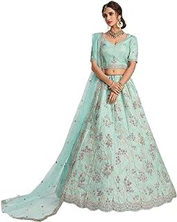 فستان زفاف نسائي هندي بتصميم على شكل وردة شاحب من الحرير ليهينغا شولي نت دوباتا Stunnig بوليوود باكستاني 6206
