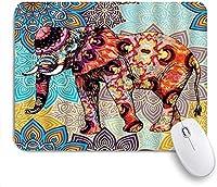 マウスパッド 個性的 おしゃれ 柔軟 かわいい ゴム製裏面 ゲーミングマウスパッド PC ノートパソコン オフィス用 デスクマット 滑り止め 耐久性が良い おもしろいパターン (ボヘミアンエレファントマンダラ色の抽象的な象)