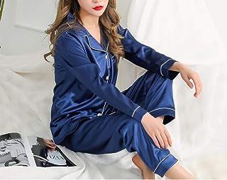 Camisones y Camisones de Mujer Pantalones de Mujer Pijama de Seda de Manga Larga Traje Mujer Verano Otoño Conjuntos de Pijama Ropa de Dormir de satén de Seda Pijamas Tallas grandes-5XL