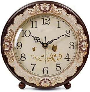 Justup Vintage Table Clock, Retro Non-Ticking European Style Beside Desk Clock Battery Operated Silent Quartz Movement for...
