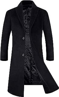 APTRO Men's Full Length Wool Blend Trench Coat Fleece Lining Top Overcoat