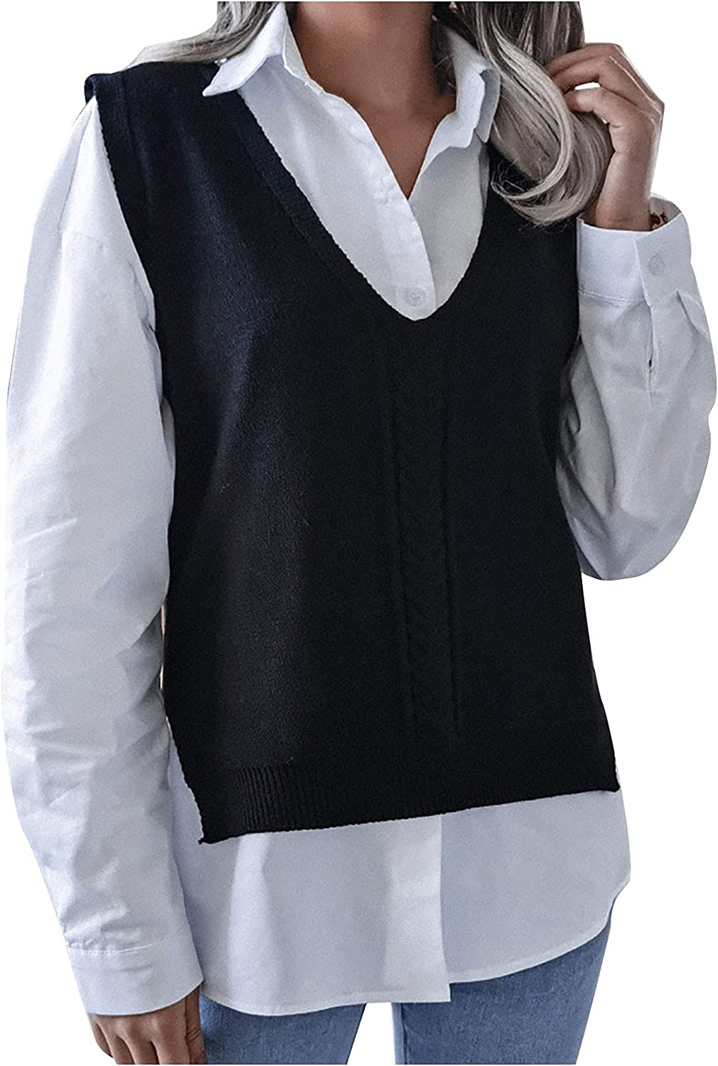 Women's Elegant Knitted Vest Sweater Casual Soft Lightweight Hollow Blouse Fashion Solid V Neck Comfortable Tops