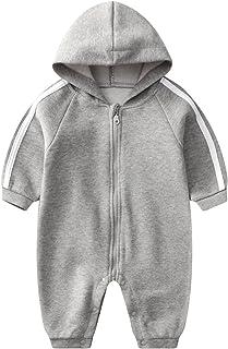 مولود جديد طفل صبي بنت رقبة مستديرة رياضات زنط رومبير رضيع خريف كم طويل حللا وزرة 0-15 شهرًا (Color : Gray, Size : 66CM)