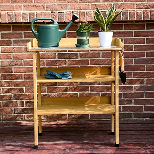 BIRCHTREE Wooden Plant Potting Table Bench Greenhouse Staging Shelf 3 Tier Work Station Metal Top with Tool Hooks BT-PT01 Natural