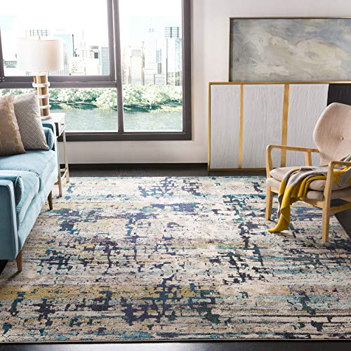 Safavieh Madison Collection MAD469B Modern Abstract Non-Shedding Stain Resistant Living Room Bedroom Area Rug, 10' x 14', Cream / Blue