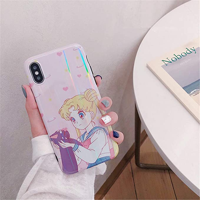 for iPhone Xr Case Xr Cover, Japan Anime Cartoon Sailor Moon Case Kawaii Slim Smooth Silicone Soft Phone Case Back Cover for iPhone Xs Max XR 6S 7 8 Plus (Pink, for iPhone Xr)
