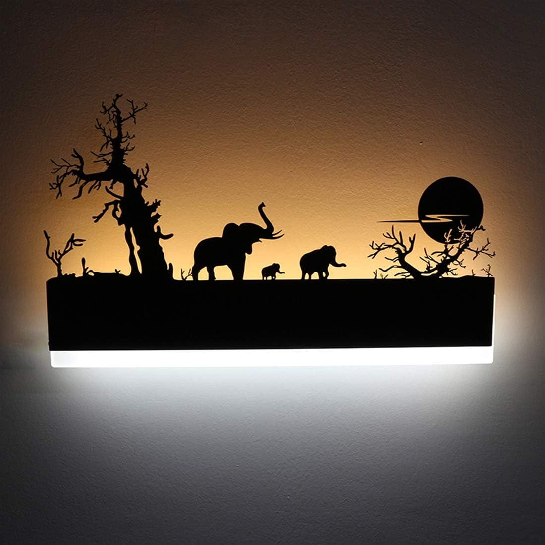 ZMISHIBO Retro Wall Lights Bathroom Coconut Tree Hollow Black Iron Sconce for Living Room