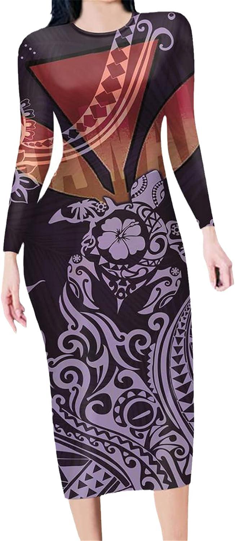 Pattern Print Women's Bodycon Fashion Crew Neck Pencil Dress Office Lady Fit Slim Dresses