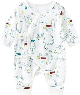 طفل بنين فتاة ضمادة نمط الطباعة رومبير ارتداءها الوليد طويلة الأكمام بذلة (Color : Blue, Size : 66CM)