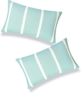 "Hofdeco Patio Indoor Outdoor Lumbar Pillow Cover ONLY for Backyard, Couch, Sofa, Aqua Wide Striped, 12""x20"", Set of 2"