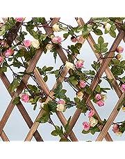 2.2m|人工バラの藤・造花藤|人工観葉植物・ユーカリガーランド・アーティフィシャルフラワー|花園・結婚式|壁掛け・ハンギング|装飾植物