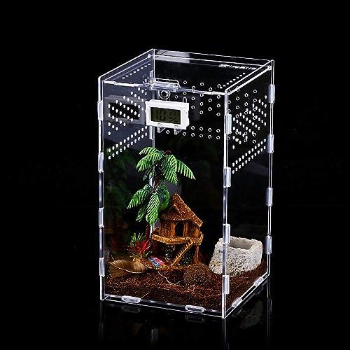 Caja de Alimentación de Insectos, 12x12x20cm Acrílico Transparente Estuche de Cría de Reptiles para Spide, Lagartija,...