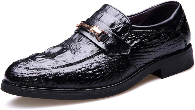 QARYYQ Men's shoes Business Casual Men's shoes Fashion Round Scalp shoes Men's Dress shoes Oxford shoes Casual shoes 38-44 Yards Men's leather boots (color   Black, Size   43 EU)