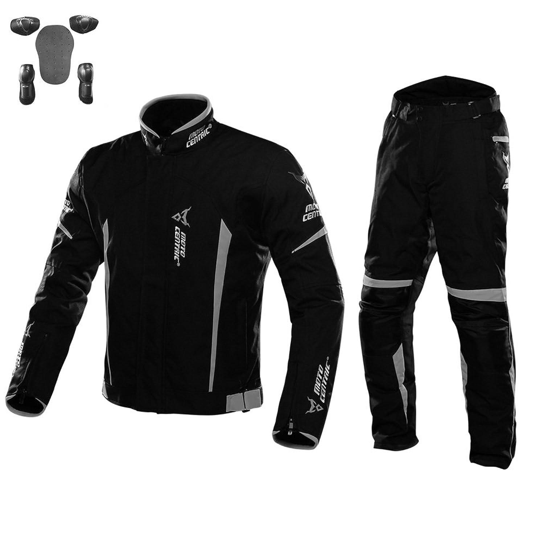 ALI-MC バイク用 オックスフォード メンズ ジャケット&パンツ上下セット オールシーズン通用 プロテクター付き 保護力 防水 防寒 防風 通気性 グレー(XXL)
