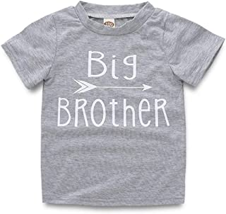 WINZIK Newborn Infant Baby Boys Girls Outfits Big Sister and Brother Letters Print Romper Jumpsuit Clothes T-Shirt