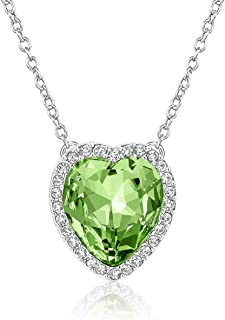 Beyond Love 12 Months Birthstone Necklace Heart Crystal Halo Pendant Jewelry for Women and Girls