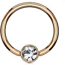 Inspiration Dezigns Rose Gold Flat Cylinder Captive Bead Ring Clear Gem