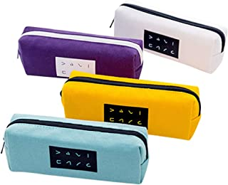 Set of 4 Pencil Pouch Big Capacity Canvas Pencil Pen Case with Zipper - Make Up Brush Pencil Stationery Storage Pouch Box for School Office [Zhhlaixing]