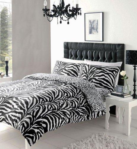 BLACK & WHITE ZEBRA PRINT DUVET COVER SETS (Double) by HOMEMAKER BEDDING